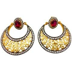 MEGHNA JEWELS Filigree Faux Ruby Cubic Zircon Earrings