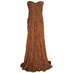 Alexander McQueen 2008 Orange and Blue Paisley Silk Strapless Gown Maxi Dress
