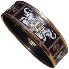 Hermès Enamel Printed Bracelet Elephants Torana Brown Gold Hdw Size 65