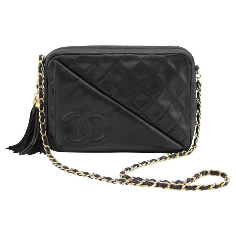 Chanel Black Quilted Lambskin Leather Diagonal Pocket Camera Bag