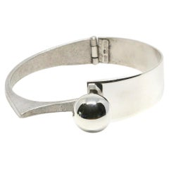 Orlando Orlandini modernist sterling silver bracelet with sphere