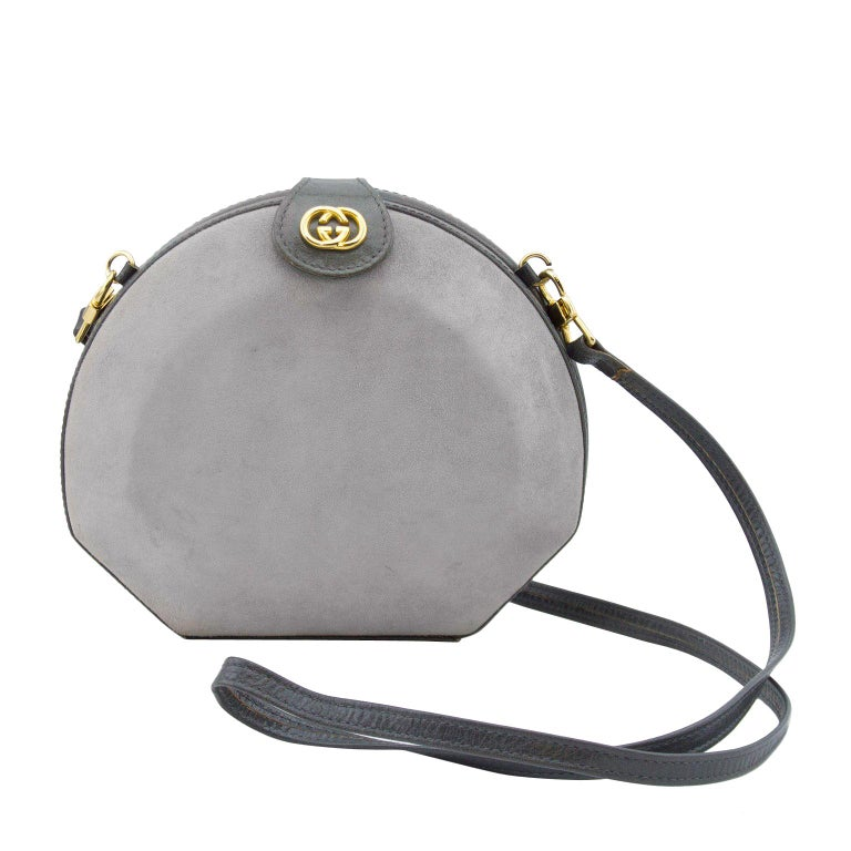 Gucci Grey Suede and Leather Clamshell Bag with Removable Strap