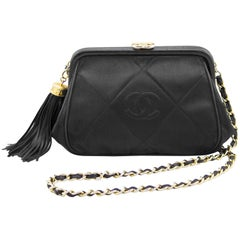 Chanel Black Leather Frame Silk Shoulder Bag