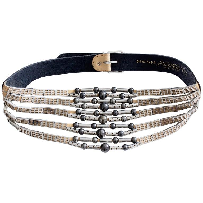 Avignon Spain Modernist Silver Multi-Chain and Leather Statement Belt