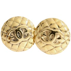 Chanel Large Matelasse Earrings CC Logo Clip Style Gilt Metal 1970s