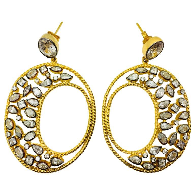Diva Hoop Crystal Earrings  For Sale