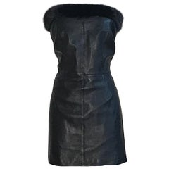 Gianni Versace 1990s Black Leather and Mink Fur Strapless Mini Dress