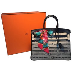 NEW Limited Edition Hermes Toile de Camp Dechainee Canvas Black 35cm Birkin Bag
