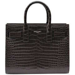 Yves Saint Laurent Burgundy Crocodile Embossed Leather Nano Sac De Jour Bag
