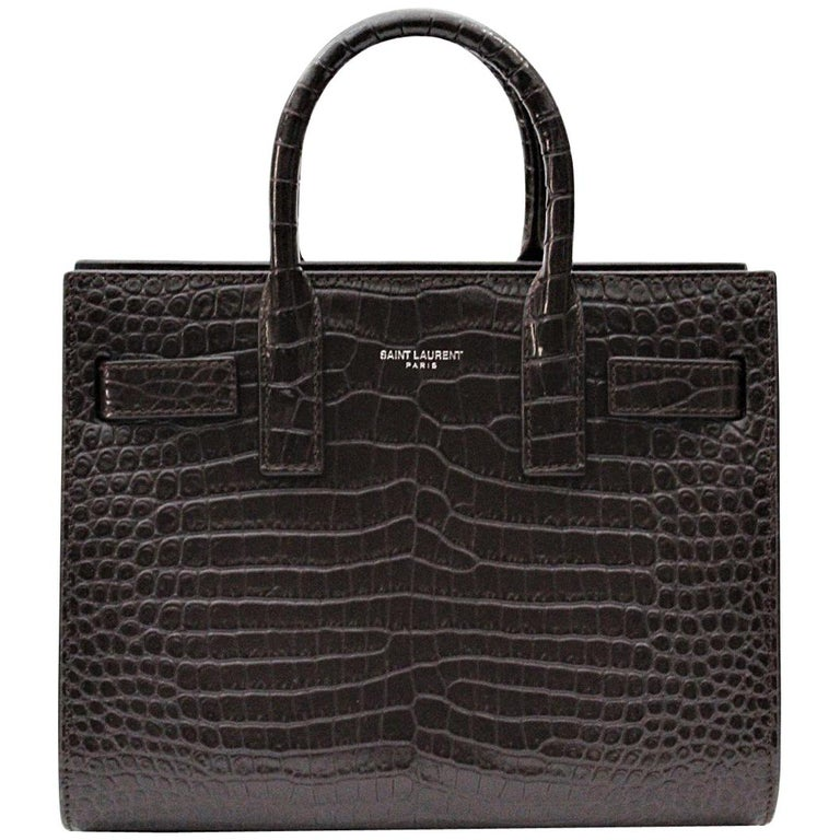 Yves Saint Laurent Burgundy Crocodile Embossed Leather Nano Sac De Jour Bag  For Sale