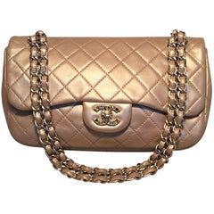 Chanel Rare Quilted Gold Leather Gemstone Closure Classic Flap Shoulder Bag