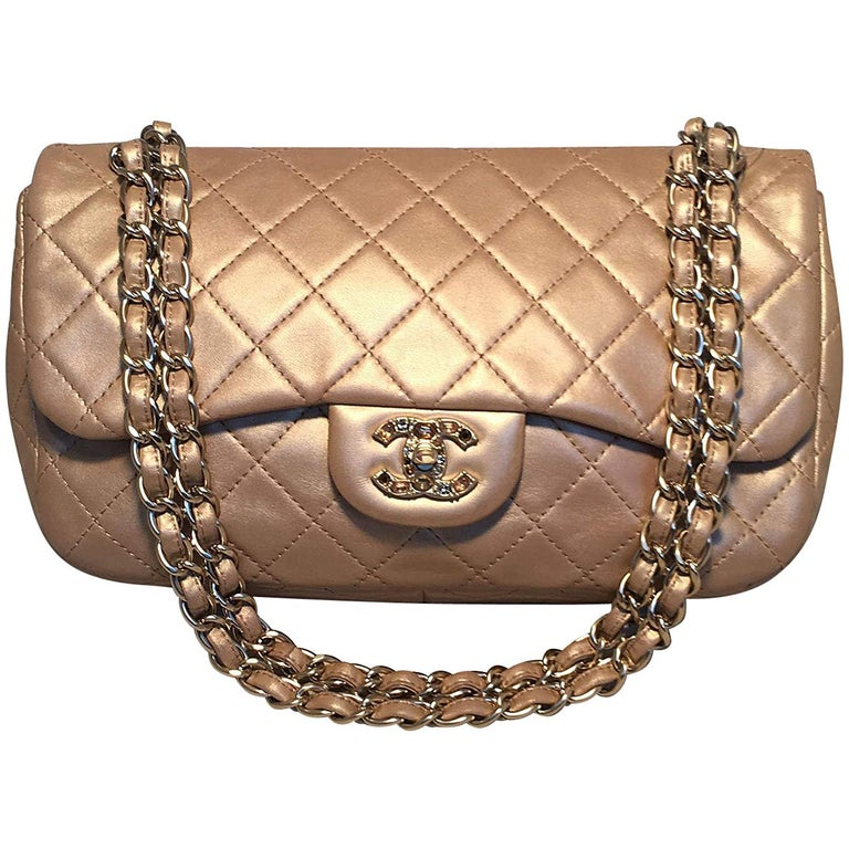 Chanel Rare Quilted Gold Leather Gemstone Closure Classic Flap Shoulder Bag For Sale