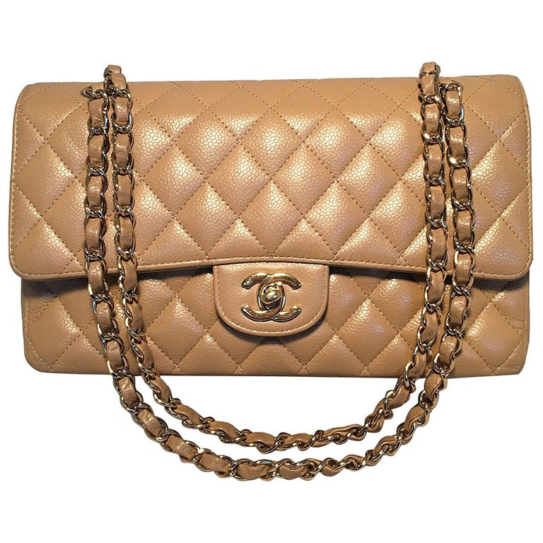 Chanel Tan 10inch Quilted Caviar 2.55 Double Flap Classic Shoulder Bag