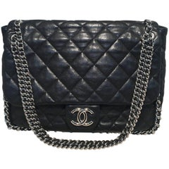 Chanel Black Quilted Leather Chain Trim Classic Maxi Flap Shoulder Bag
