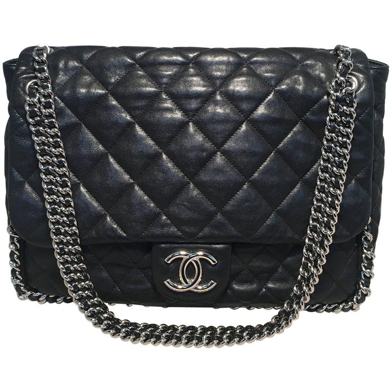 8dac6f4891af Chanel Black Quilted Leather Chain Trim Classic Maxi Flap Shoulder Bag For  Sale