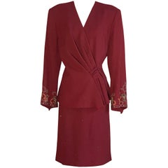 Pierre Balmain 1980s Cranberry Red Beaded Embroidered Sleeve Jacket Skirt Suit