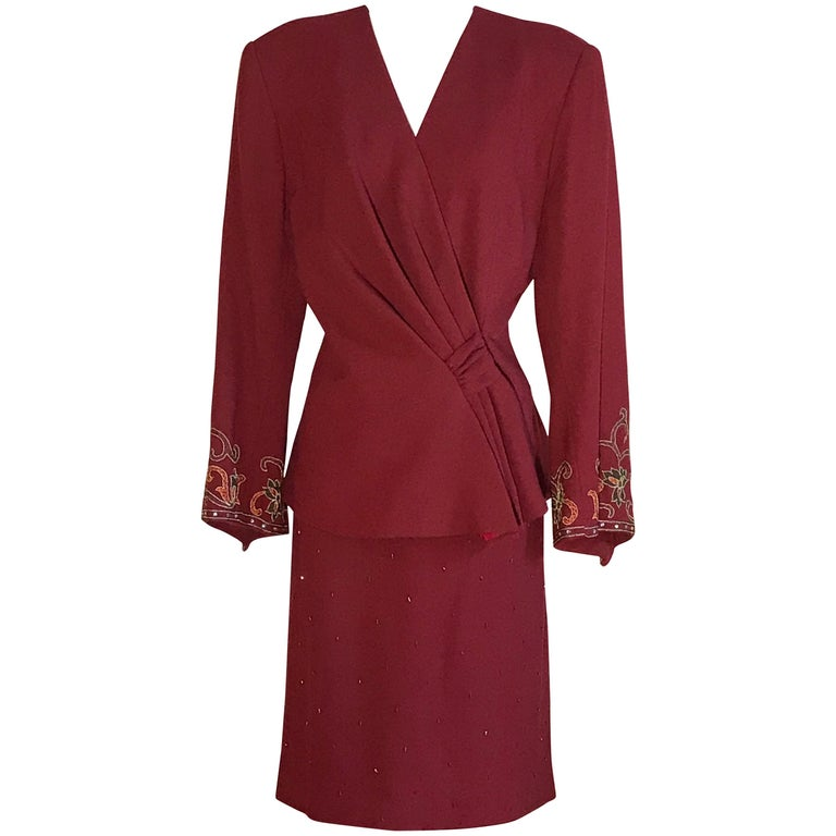 Pierre Balmain 1980s Cranberry Red Beaded Embroidered Sleeve Jacket Skirt Suit  For Sale