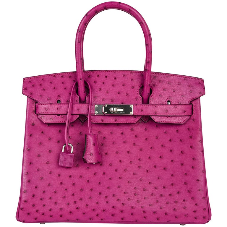 Hermes Birkin 30 Bag Rose Poupre Pink Ostrich Palladium Hardware For