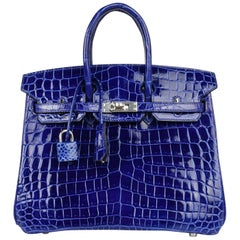 Hermes Birkin 25 Bag Blue Electric Crocodile Vivid Jewel Palladium Hardware