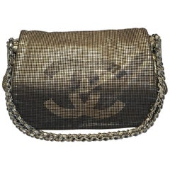 Chanel Metallic Black and Gold Mesh Leather CC Logo Flap Classic Shoulder Bag