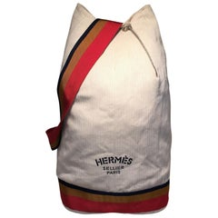 Hermes Herringbone Canvas Sling Backpack Shoulder Bag