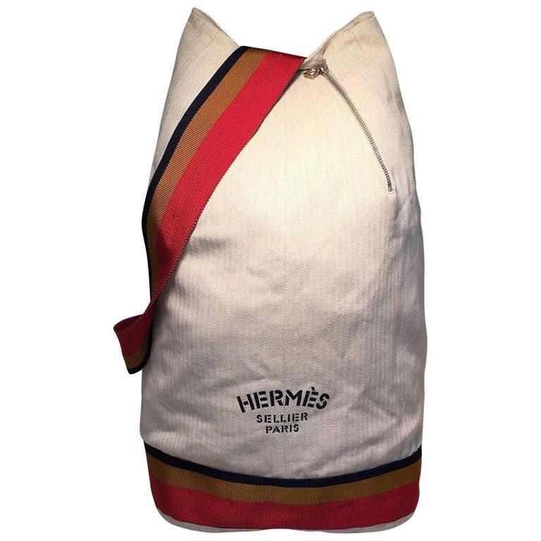Hermes Herringbone Canvas Sling Backpack Shoulder Bag