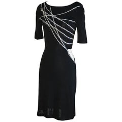 Gianni Versace Couture 1990s Black Knit Yarn Bodycon Dress with Cut Out at Waist