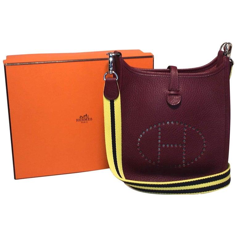 factory authentic 7324a 168ee Hermes Mini Raisin Clemence Leather Evelyne Shoulder Bag