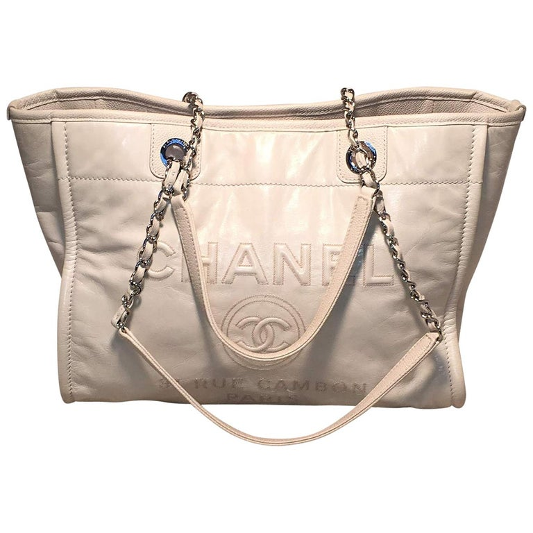 Chanel White Glazed Leather Deauville Shopping Bag Tote