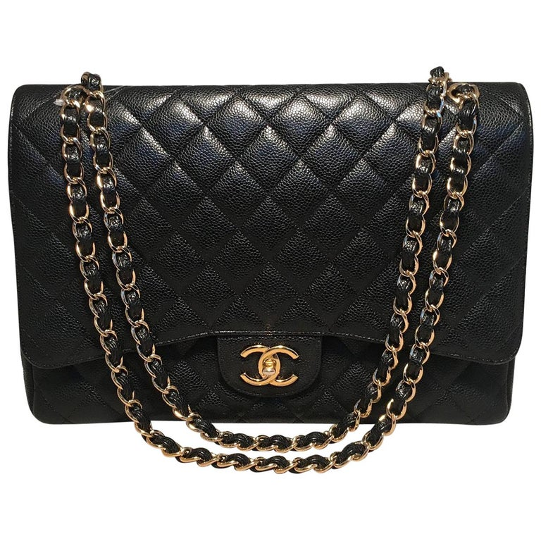 Chanel Black Quilted Caviar 2.55 Double Flap Classic Shoulder Bag