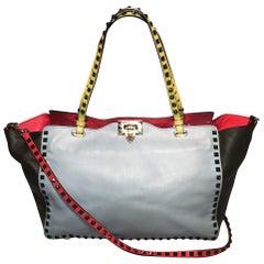Valentino Garavani Studded Multicolor Leather Rockstud Tote Bag