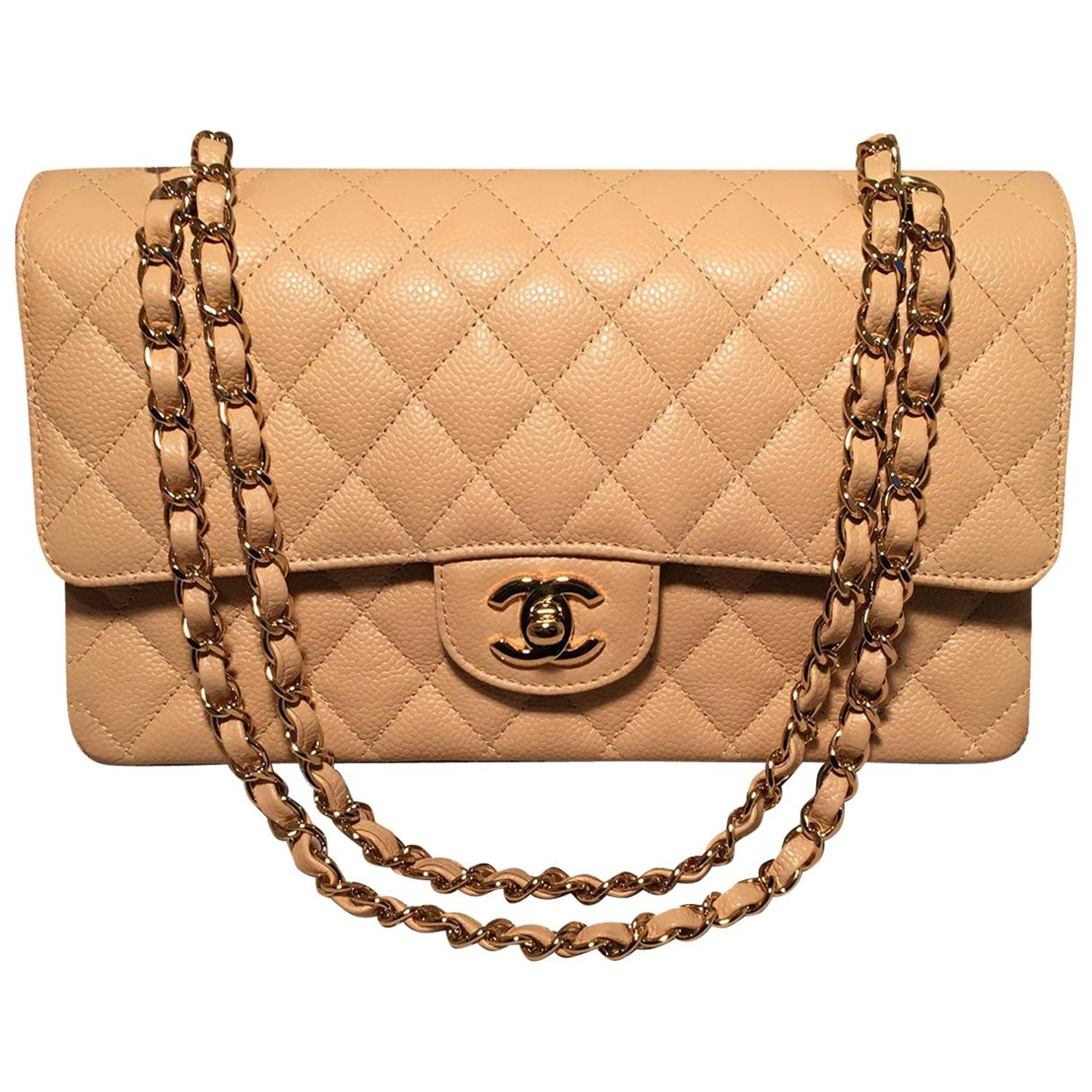 9912b9f9633b Chanel Nude 10inch Quilted Caviar 2.55 Double Flap Classic Shoulder Bag For  Sale at 1stdibs