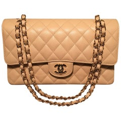 Chanel Nude 10inch Quilted Caviar 2.55 Double Flap Classic Shoulder Bag
