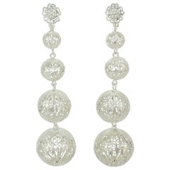 Vintage Silver Filigree Graduated Orb Dangle Earrings
