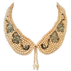 Mid-Century Japanese Faux Pearl Bead & Crystal Swan Collar Necklace