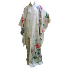Japanese style Butterfly Floral Vintage Kimono circa 1970