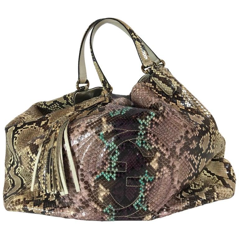 Gucci Multicolor Python Soho Large Tote Bag