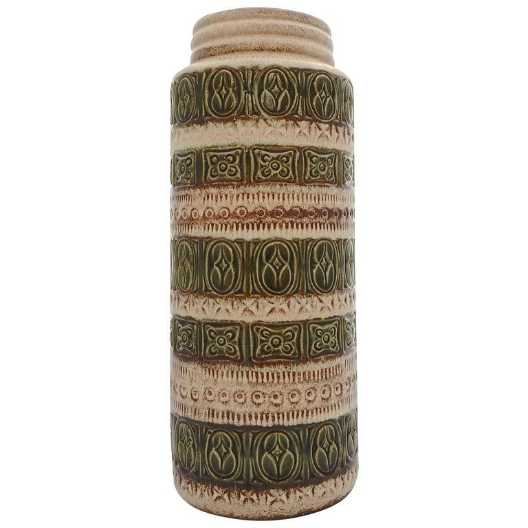 Scheurich Keramik West Germany Large Pottery Green Brown Cream Vase, circa 1960s