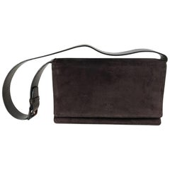 Suede Leather Rectangle Front Flap Shoulder Bag
