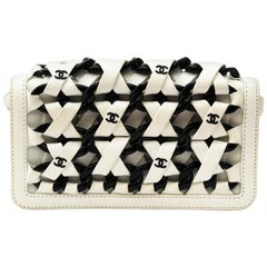 Chanel White Leather Interlaced Chain Mini Clutch Bag