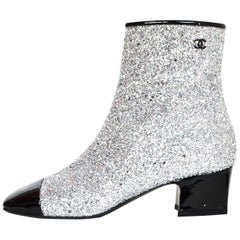Chanel Silver Glitter and Black Patent Cap-Toe Ankle Boots