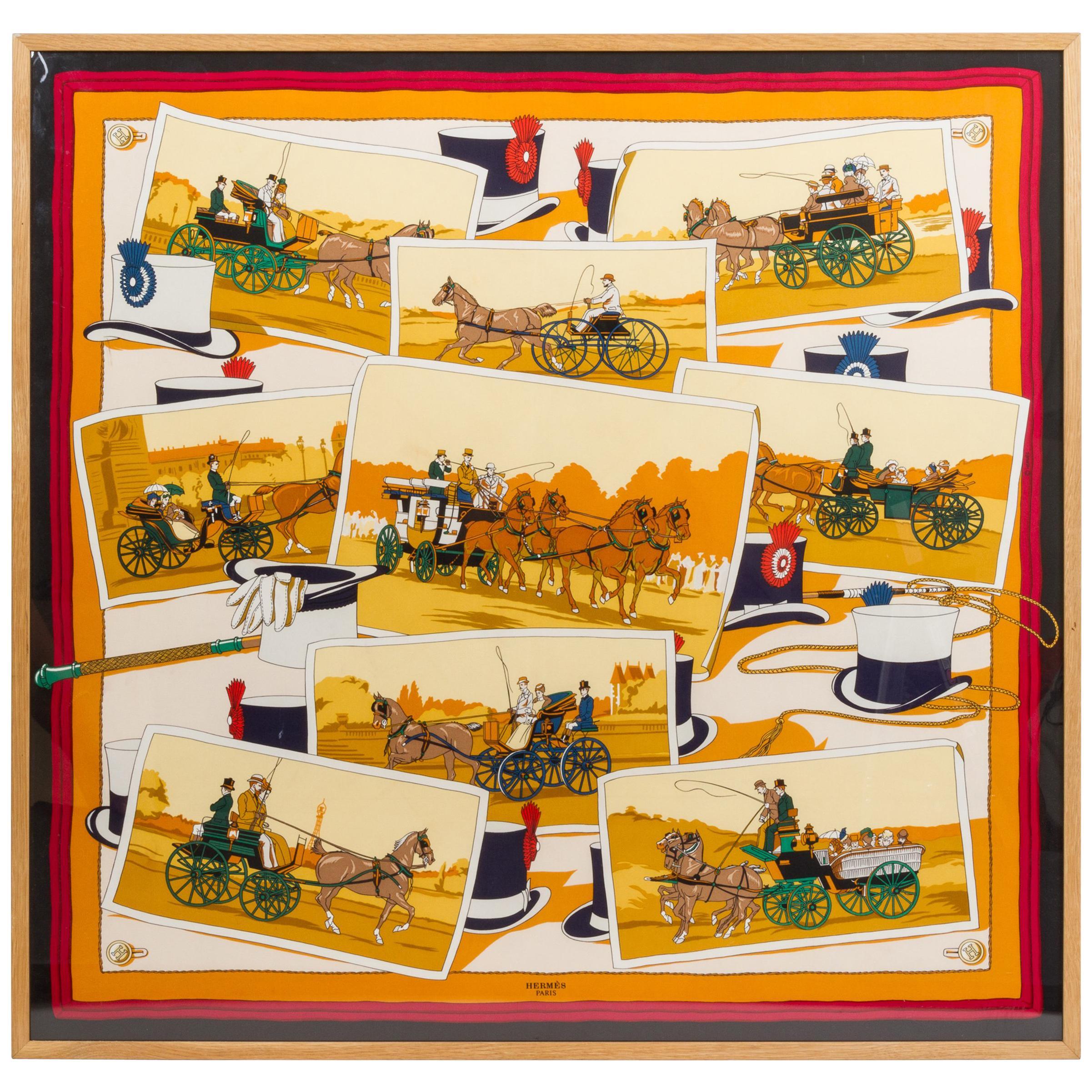 Hermès Framed Silk Carriage Scarf