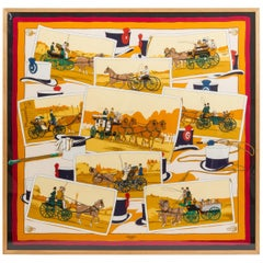 Hermès Framed Silk Carriage Scarf