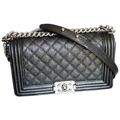 Brand New CHANEL OLD Medium Boy Bag in Caviar leather With Ruthenium hardware