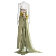 Dolce & Gabbana silk chiffon evening gown with train, A/W 1998