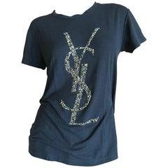 Yves Saint Laurent Black Crystal Covered Logo Tank Top Autumn 2012