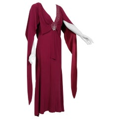 1930's Couture Rhinestone Studded Plum Crepe Winged Sleeve Bias-Cut Deco Gown