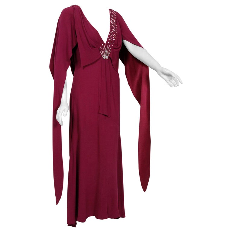 1930's Couture Rhinestone Studded Plum Crepe Winged Sleeve Bias-Cut Deco Gown For Sale