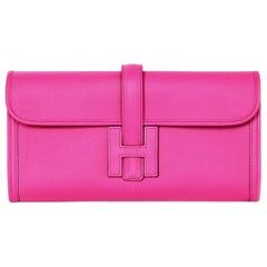 Hermes 2018 Magnolia Pink Swift Leather Jige Elan 29 H Clutch Bag w Receipt