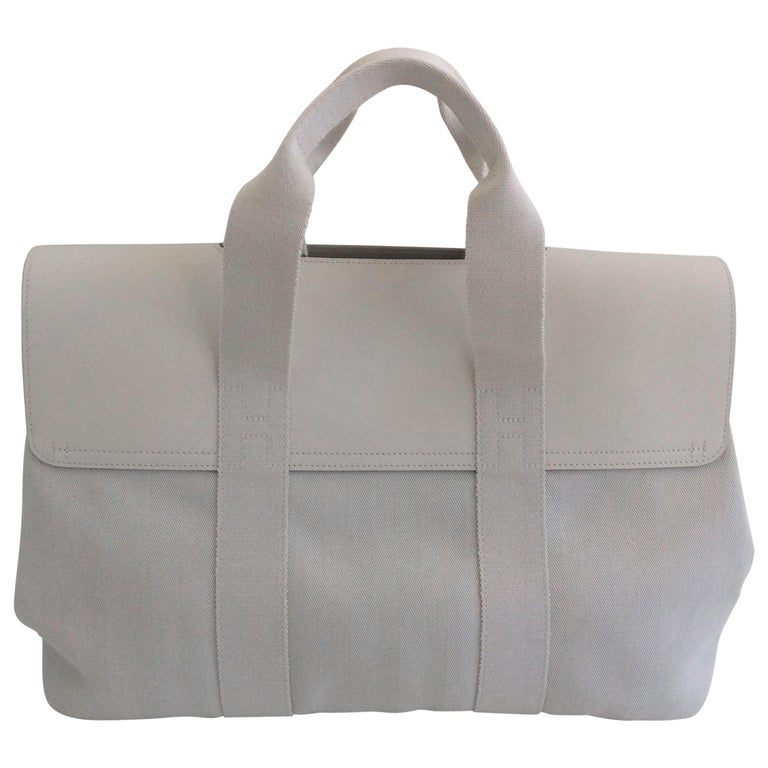 Hermes Valparaiso MM Bag Toile Ivory Chevron Canvas